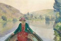 Picture landscape, river, woman, boat, picture, Hay, genre, Henri Lebacq, Woman in the Boat at the ...