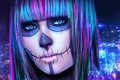 Picture eyes, look, girl, face, skull, makeup, art, cyberpunk, Synesthesia