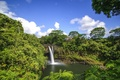 Picture foliage, the sky, waterfall, trees, Nature, clouds
