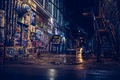 Picture night, the city, graffiti