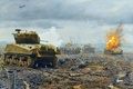 """Picture 1944год, flame, WW2, France, """"Panthers"""", tanks, figure, """"Sherman"""", field, battle, the sky, the plane, fire"""