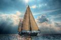 Picture sea, sails, yacht, sailboat