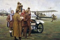"Picture art, training aircraft, mechanics, car, New York, hangar, figure, pilots, the airfield, Curtiss JN-4 ""Jenny"", ..."