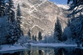 Picture rock, spruce, snow, mountains, winter, trees, river
