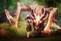 Picture dragon, fantasy, sword, girl