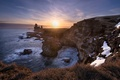 Picture sea, morning, rays, snow, winter, the sun, rocks