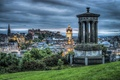 Picture hdr, home, trees, the evening, Edinburgh, Scotland, gazebo, hills