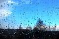 Picture the sky, glass, drops, macro, rain