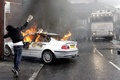 Picture truck, bully, police, burns, guy, riots, stone, situation, BMW, fire