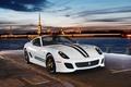 Picture sports car, 2 seater, Ferrari 599 GTO, supercar, lights, the evening, promenade, river