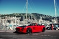 Picture red, yacht, mountains, island, yachts, building, hamann hawk, island Mercedes, Hamann, tuning, building, mountains, tuning, ...