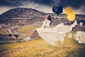 Picture balls, umbrella, the wind, girl, The Flying Bride