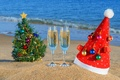 Picture holiday, tree, Christmas, toys, cap, beach, sand, sea, new year, new year, glasses, the ocean, ...