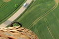 Picture balloon, road, basket, the view from the top, field