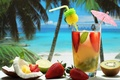 Picture glass, food, coconut, kiwi, strawberry, cocktail, lime, tube