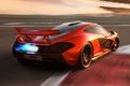 Picture McLaren, rear view, supercar, flame.racing track, the concept, orange, McLaren, Concept