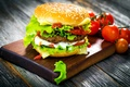 Picture leaves, cheese, bow, Board, vegetables, tomatoes, hamburger, Patty, roll, sesame, fast food, salad