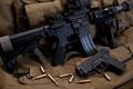 Picture weapons, bullets, assault rifle, gun