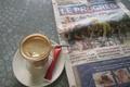 Picture coffee, newspaper, sugar, spoon