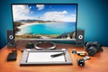 Picture card, landscape, table, mouse, the camera, speakers, hard, working, monitor, disk, tablet, tropical, hi-tech, bokeh, ...
