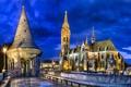 Picture lighting, architecture, Matthias Church, the city, Matthias church, Matthias Church, lights, the evening, Hungary, Hungary, ...