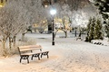Picture shop, Park, light, snow, nature, winter, bench, bench, trees, the evening, shop, lights