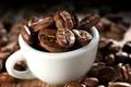 Picture macro, background, Cup, grain, white, coffee