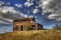 Picture field, the sky, landscape, house, HDR
