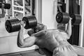 Picture chest, power, workout, gym, bodybuilder, dumbbells
