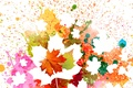 Picture autumn, leaves, squirt, background, paint, silhouette