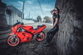 Picture View, Brake, Hair, Red, Model, Points, Tight Clothing, Girl, Sky, Wheels, Motocycle