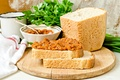 Picture parsley, bread, greens, squash caviar