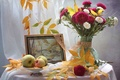 Picture picture, still life, bouquet, asters, apples, autumn, leaves