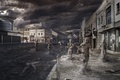 Picture clouds, pustosh, art, the end of the world, ash, people, the city