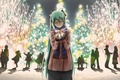 Picture new year, holiday, gift, Vocaloid, Miku, anime