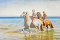 Picture sea, the sky, horse, picture, boy, bathing, Michael Ancher