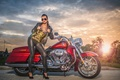 Picture red, bike, motorcycle, Harley Davidson, Harley, rock, girl, tattoo