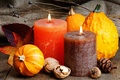 Picture nuts, pumpkin, candles, leaves