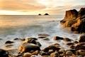 Picture stones, surf, wave, water, rocks, the ocean, the sky, horizon, landscape