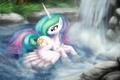 Picture water, cartoon, waterfall, wings, bathing, art, pony, Princess, My Little Pony, Celestia, Celestia