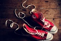 Picture different, sneakers, background, red, laces, photo, Wallpaper