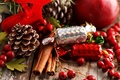 Picture berries, Apple, food, sticks, New Year, Christmas, candy, sweets, red, cinnamon, Christmas, bumps, holidays, New ...