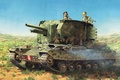 Picture WW2., art, self-propelled, artillery, SAU, tank, British, tank, Valentine, The second world war, times, built, ...