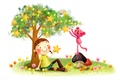 Picture animal, girl, stars, childhood, smile, tree, figure, fantasy, lawn, braids, dandelions, grass, mushrooms