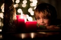 Picture bokeh, child, candles, holiday, mood, smile