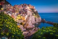 Picture landscape, the city, stones, rocks, shore, building, home, Italy, The Ligurian sea, Manarola, National park ...