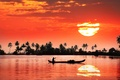 Picture India, boat, reflection, shore, people, the sun, river, sunset
