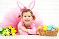 Picture girl, rabbit, eggs, holiday, Easter