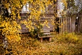 Picture bench, house, autumn, the city