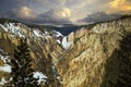 Picture waterfall, gorge, snow, river